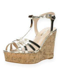 Gouden sandalen met sleehak