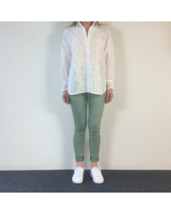 Witte blouse Flowers