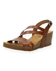 Cognac sandalen met sleehak Cadiz