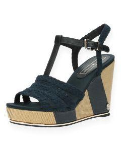 Blauwe sandalen met sleehak Printed Wedge