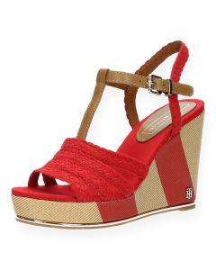 Rode sandalen met sleehak Printed Wedge