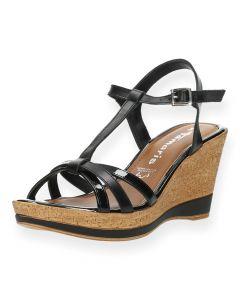 Zwarte sandalen sleehak