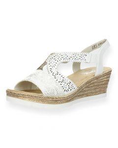 Witte sandaal met sleehak