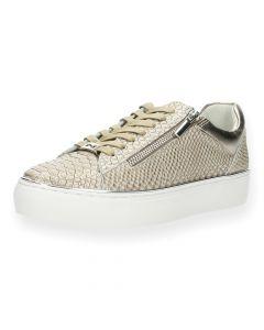 Bronzen sneakers slangenprint