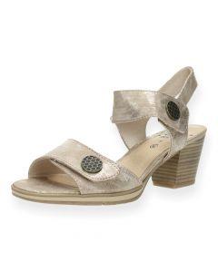 Metallic beige sandalen met hak