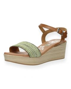 Groene sandalen met sleehak