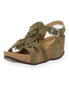 Kaki sandalen Tecla