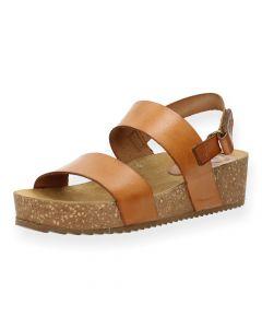 Lichtbruine sandalen met sleehak