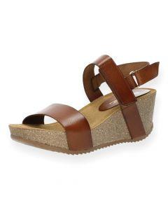 Cognac sandalen sleehak