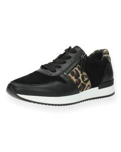 Zwarte sneakers luipaardprint
