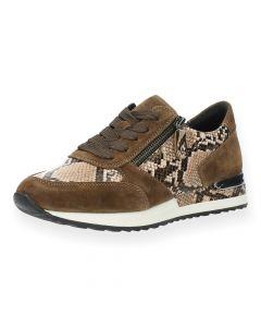 Bruine slangenprint sneakers