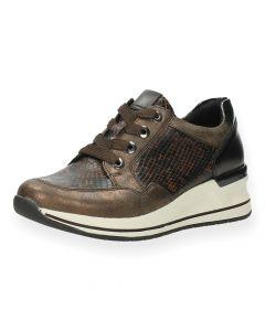 Bruine sneakers slangenprint
