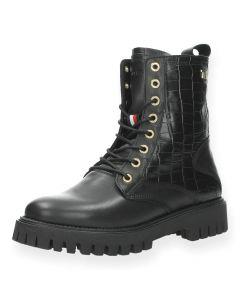 Zwarte bottines Croco Look