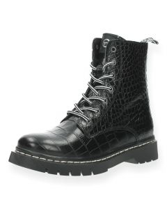 Zwarte bottines Croco