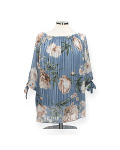 Blauwe blouse Flower