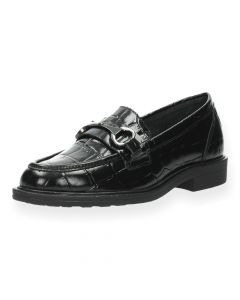 Zwarte loafers Croco