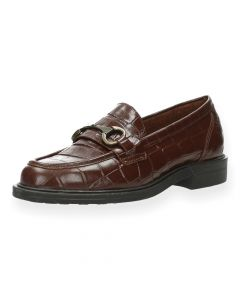 Donkerbruine loafers Croco