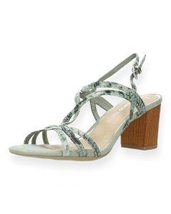Kaki slangenprint sandalen