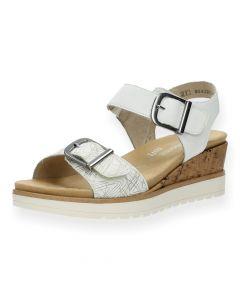 Witte sandalen met sleehak