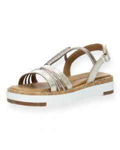 Metallic beige sandalen