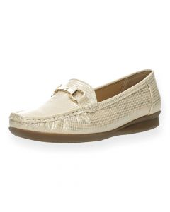 Metallic beige mocassins