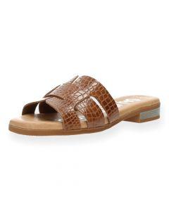 Bruine slippers Croco