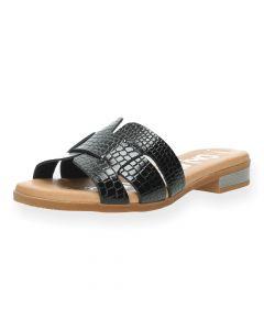 Zwarte slippers Croco