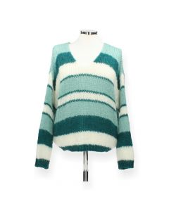 Groene gestreepte trui