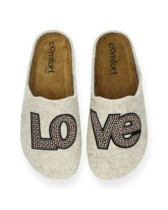 Beige pantoffels Love