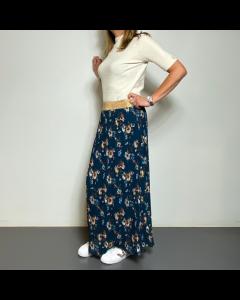 Lange blauwe rok