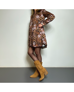 Bloemenprint kleedje bruin