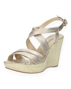 Metallic sandalen met sleehak