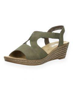 Kaki sandalen met sleehak