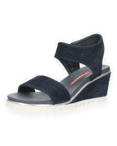 Blauwe sandalen met sleehak