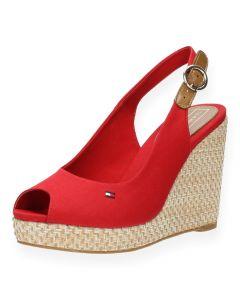 Rode sandalen met sleehak