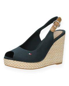 Blauwe sandaal met sleehak