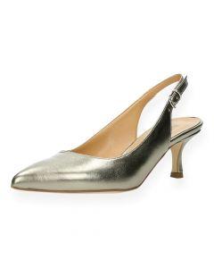 Gouden sandalen met een hak