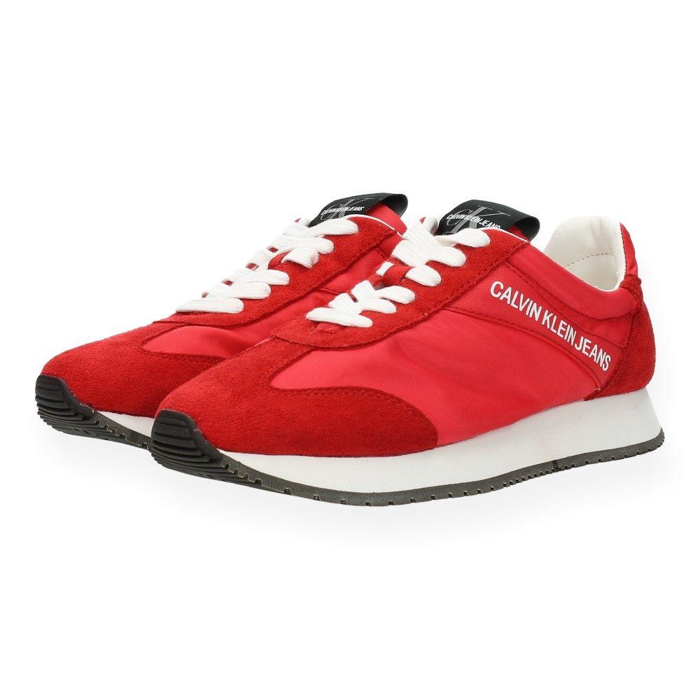 Klein Van Sneakers Rode Jeans Calvin Rood yvf67bgY